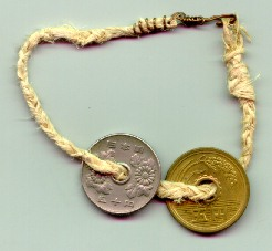5 and 50 yen coins 
